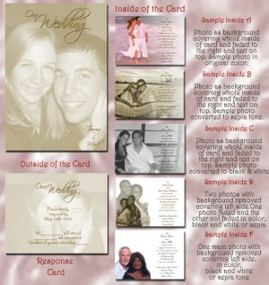 Full Picture in Sepia Folded Photo Wedding Invitations Package