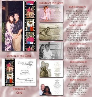 Hollywood Film Strip Red Carpet Folded Photo Wedding Invitations Pkge