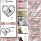 Silver or Any Color Hearts Folded Photo Wedding Invitations Package