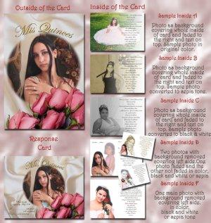Elegant Satin Folded Photo Quinceanera / Sweet 16 Invitations Package