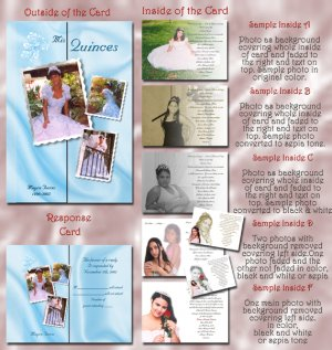 Multi Photo Blue or Any Color Photo Quinceanera Sweet 16 Invitations