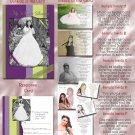Purple & Lime Stripes Folded Photo Quinceanera Sweet 16 Invitations