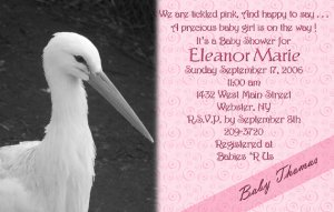 Stork Baby Shower Invitations Optional Photos &amp; Ultrasound pic pink