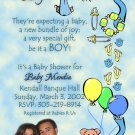 Photo Baby Shower Invitations Stork, Bear or ultrasound photo Blue