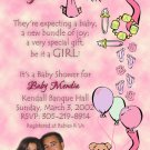 Photo Baby Shower Invitations Stork, Bear or ultrasound photo Pink