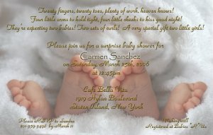 Photo Baby Shower Invitations Baby Feet Twins in Color