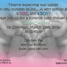 Photo Baby Shower Invitations Baby Feet Twins in BW & Pink and Blue