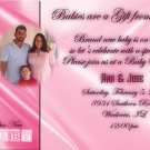 Photo Baby Shower Invitations Elegant Satin Background in Pink