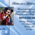 Photo Baby Shower Invitations Elegant Satin Background in Blue