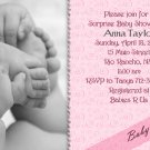 Photo Baby Shower Invitations Hands and Feet Swirls in Pink