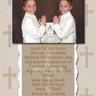 Mocha Brown Crosses Photo Communion Invitations & Confirmation