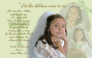 Multi Photo in Mint Green Photo Communion Invitations & Confirmation