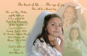 Multi Photos in Peach Green Photo Communion Invitations & Confirmation