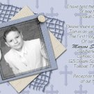 Stripes & Crosse Blue Photo Communion Invitations & Confirmation