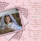 Stripes & Crosses in Pink Photo Communion Invitations & Confirmation