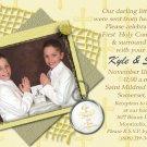 Stripes & Crosses in Gold Photo Communion Invitations & Confirmation