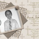 Stripes & Crosses in Mocha Photo Communion Invitations & Confirmation