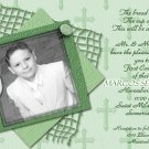 Stripes & Crosses in Mint Photo Communion Invitations & Confirmation