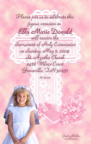 Serenity Cross Pink Photo Communion Invitations & Confirmation