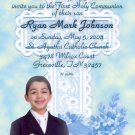 Serenity Cross Blue Photo Communion Invitations & Confirmation