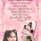 Ornate Pink with Three Pics Photo Communion Invitations & Confirmation