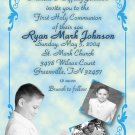 Ornate Blue with Three Pics Photo Communion Invitations & Confirmation