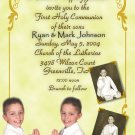 Ornate Gold with Three Pics Photo Communion Invitations & Confirmation