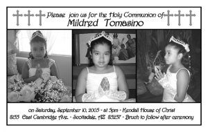Triple in Black & White Photo Communion Invitations & Confirmation