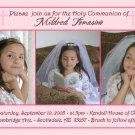 Triple in Pink Photo Communion Invitations & Confirmation Invitations