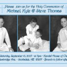 Triple in Blue Photo Communion Invitations & Confirmation Invitations