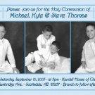Triple in Blue Photo Communion Invitations & Confirmation Invitations