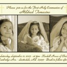 Triple in Gold Photo Communion Invitations & Confirmation Invitations