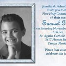 Bible & Rosary in Blue Photo Communion Invitations & Confirmation