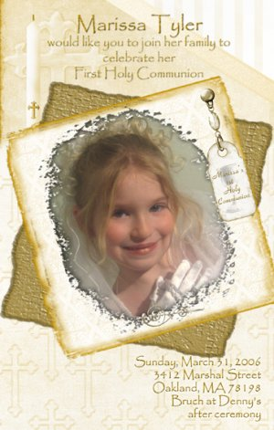 Graceful in Gold Photo Communion Invitations & Confirmation