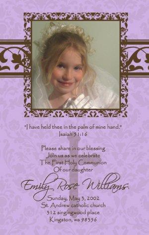 Damask Lavender & Brown Photo Communion Invitations & Confirmation