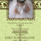 Damask Green & Brown Photo Communion Invitations & Confirmation