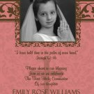 Damask Berry & Brown Photo Communion Invitations & Confirmation