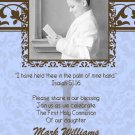 Damask Old Blue & Brown Photo Communion Invitations & Confirmation