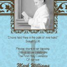 Damask Aqua & Brown Photo Communion Invitations & Confirmation