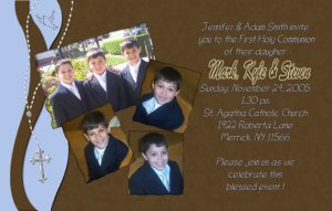 Joyful Collage Blue/Brown Photo Communion Invitations & Confirmation