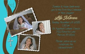 Joyful Collage Teal/Brown Photo Communion Invitations & Confirmation