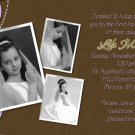 Joyful Collage Lavender/Brown Photo Communion Invitations Confirmation