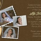 Joyful Collage Peach/Brown Photo Communion Invitations Confirmation