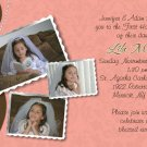 Joyful Collage Brown/Coral Photo Communion Invitations Confirmation
