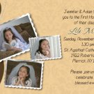 Joyful Collage Brown/Cream Photo Communion Invitations Confirmation