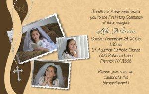 Joyful Collage Brown/Cream Photo Communion Invitations Confirmation