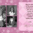 Custom Photo Christmas Cards 5 x 8 Trendy 3 Photo and Snowflakes Pink