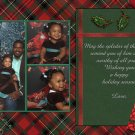 Custom Photo Christmas Cards 5 x 8 Elegant Classic Red and Green Plaid