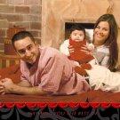 Custom Photo Christmas Cards 5 x 8 Modern Trendy Swirly Black & Red