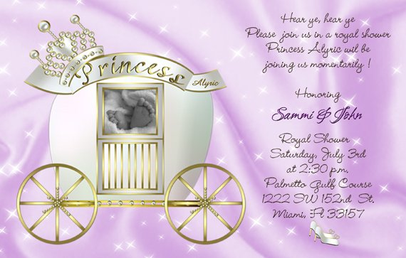 Princess Carriage Photo Or Ultrasound Baby Shower Invitations In